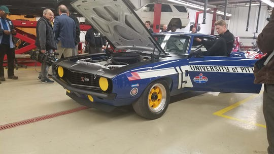 IndyCar champion Josef Newgarden climbs from a 1969 Camaro Trans Am. The Historic Trans Am Series is coming to the 2020 Detroit Grand Prix next year.