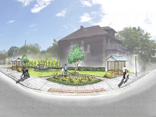 A rendering for Rest & Ride Park, at Linwood and Ferry Park, in Detroit's Northwest Goldberg neighborhood.