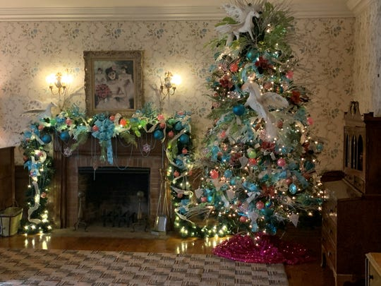 White winged horses are woven throughout the holiday decor in what was once France Dodge's room at Meadow Brook Hall, a nod to the estate's Pegasus Fountain.