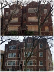 This combination of photos taken on Nov. 15, 2013, top, and again on April 19, 2016, bottom, shows an apartment building at 62nd Street and Washtenaw Avenue in the city's Chicago Lawn neighborhood. The building was the first of scores of vacant buildings that have since been rehabbed and reoccupied in Chicago Lawn.