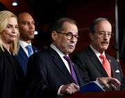 "House Judiciary Committee Chairman Jerrold Nadler, D-N.Y., second from right, speaks during a news conference on Capitol Hill in Washington, Thursday, Oct. 31, 2019. Nadler, D-N.Y., said Tuesday, Nov. 26, 2019,  that his panel's hearing will ""explore the framework put in place to respond to serious allegations of impeachable misconduct."""