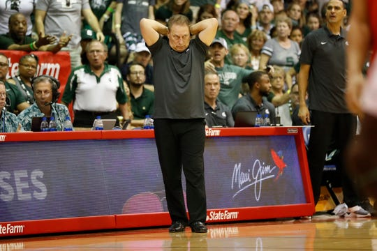 Michigan State head coach Tom Izzo reacts to a play against Virginia Tech.