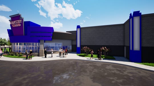 A rendering of the renovated Fond du Lac 8 Theatres, soon to be renamed Odyssey Grand. Odyssey Entertainment hopes to have renovations complete by early summer.