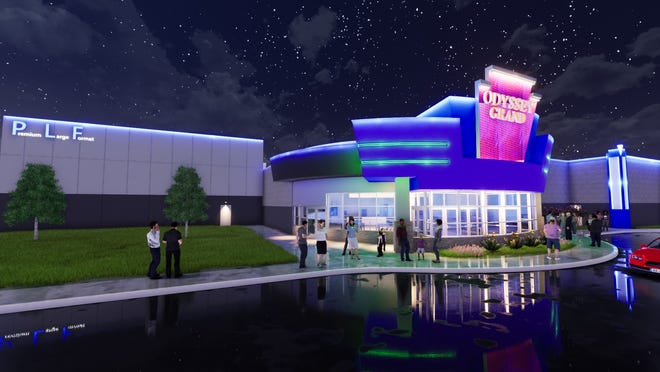 A rendering of the renovated Fond du Lac 8 Theatres, soon to be renamed Odyssey Grand. The renovation will included a updated exterior.
