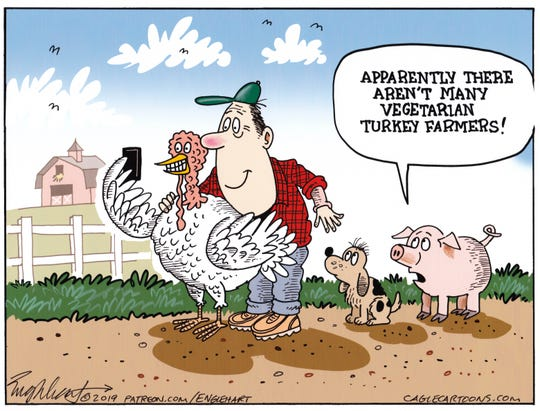 A vegetarian turkey farmer.