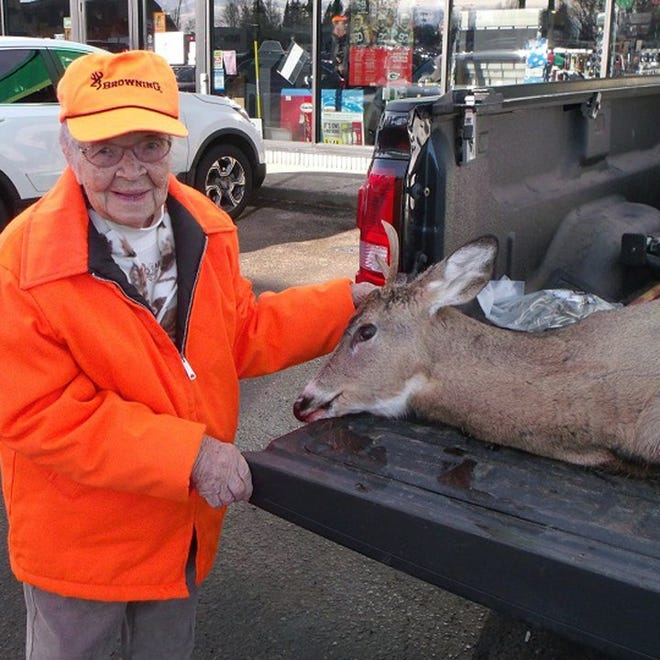 Florence Teeters of Phillips shot her first buck at 104 years old.