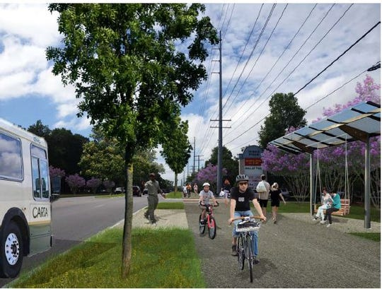 A proposed separate walkway/bike path and bus stop by a shopping center on U.S. 123 in Seneca. Oconee County's HWY 123 Corridor Study found that the most pressing issue to address on the busy roadway if safety. The study recommended adding increased public transit, separate walkways and bike lanes would increase pedestrian and biker safety while promoting alternative forms of transportation.