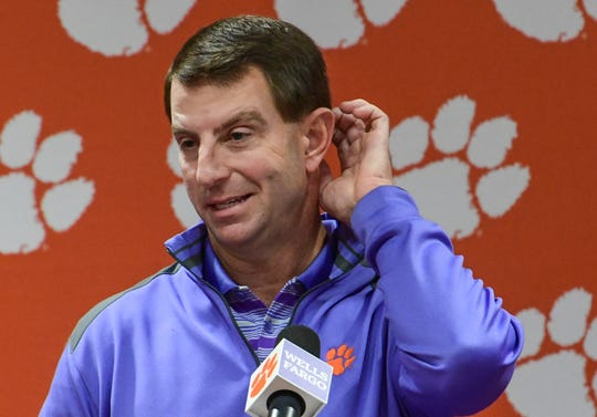 Dabo Swinney talks during his weekly press conference at the Allen Reeves football complex in Clemson Tuesday, November 26, 2019.