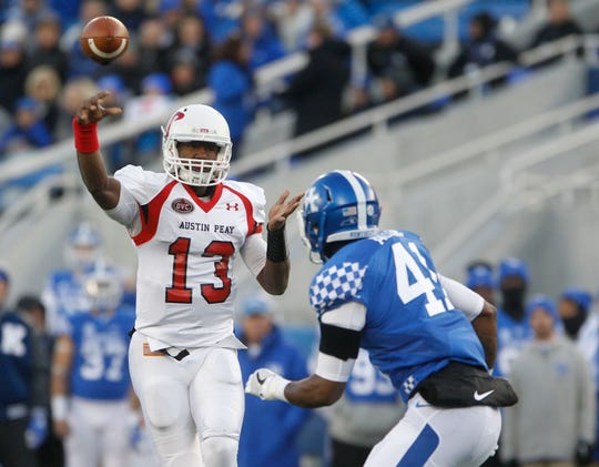 Austin Peay quarterback JaVaughn Craig (13) is a threat as a passer and a runner.