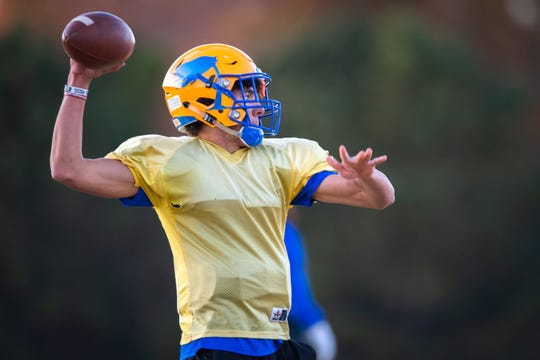 Joe Owens, Wren High School quarterback, during practice Monday, November 25, 2019.