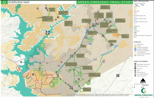 The proposed masterplan for The Green Crescent Trail in the 2016 Feasibility Study.