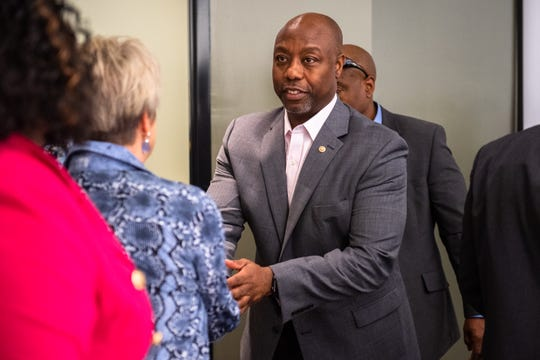 U.S Sen. Tim Scott leaves Tri-County Technical College following his meet and greet event, Tuesday, November 26, 2019.