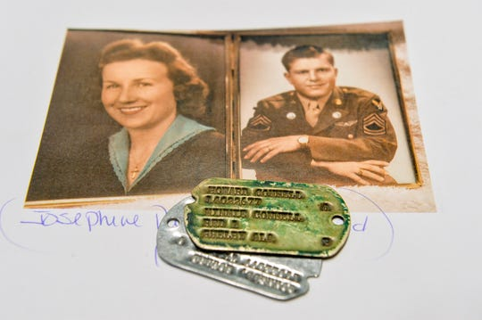 Dog tags belonging to Howard Connell, right, who served at the air base in Great Falls in the 1940s, were discovered at a garage sale. Connell married Josephine Patricia Kutros of Great Falls, left, in 1943.