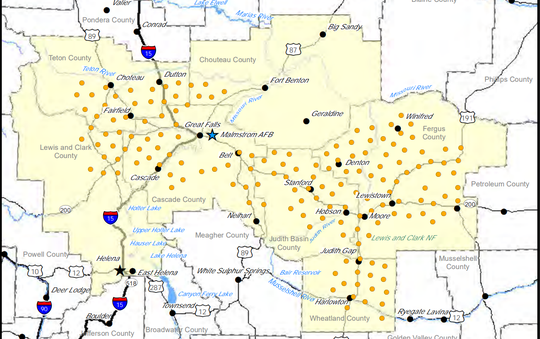 The locations of 150 Minuteman III ICBM sites in northcentral Montana.