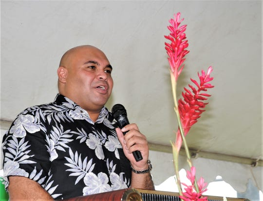 Guam Lt. Gov. Joshua Tenorio speaks to crowd at 70th anniversary of library services on Guam commemoration. Nov. 26, 2019, Hagatna, Guam.