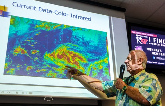 Chip Guard, warning coordination meteorologist with the National Weather Service, describes weather conditions local residents may experience with the southern passage of Tropical Depression 29W during a heavy weather briefing at the Guam Homeland Security/Office of Civil Defense headquarters in Agana Heights on Tuesday, Nov. 26, 2019. Guam was placed in Condition of Readiness 3, as damaging winds of 39-57 mph are expected within 48 hours, according to an announcement from the Joint Information Center.