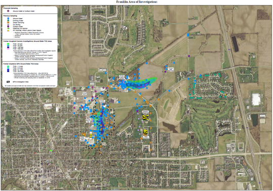 A map from the Indiana Department of Environmental Management shows two plumes identified in Franklin, Ind. with cancer-causing chemicals.