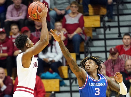 Indiana Hoosiers guard Al Durham (1) attempts a shot during the game against Louisiana Tech at Simon Skjodt Assembly Hall in Bloomington, Ind., on Monday, Nov. 25, 2019.