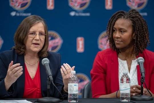 New Indiana Fever head coach Marianne Stanley speaks to the crowd gathered during a press conference at Bankers Life Fieldhouse on Tuesday, Nov. 26, 2019.