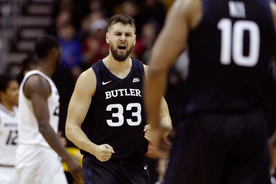 Butler forward Bryce Golden (33) celebrates after making a basket during the first half of an NCAA college basketball game against Missouri, Monday, Nov. 25, 2019, in Kansas City, Mo.