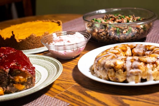 Boo's meatloaf Pink Stuff, chiffon pie, and wild rice pilaf and cinnamon pull-apart bread are pictured, Sunday, Nov. 24, 2019, in Iowa City, Iowa.