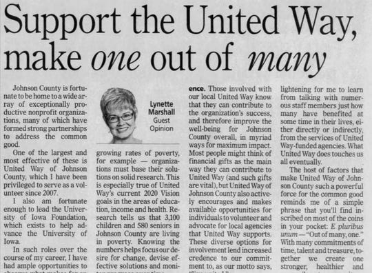 A guest opinion discusses United Way's goals for 2020, in the Nov. 24, 2011, Press-Citizen edition.