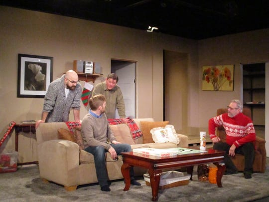 """Michael Francis (far left) plays Drew, Aaron Weiner (left) plays Jake, Kevin Michael Moore (right) plays Matt and Kevin Burford (far right) plays Ed on Monday on Monday, Nov. 11, 2019 during rehearsal for Riverside Theatre's holiday show """"Straight White Men"""""""