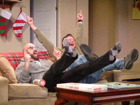 """Michael Francis (left) plays Drew and Kevin Michael Moore (right) plays Matt on Monday, Nov. 11, 2019 during rehearsal for Riverside Theatre's holiday show """"Straight White Men"""""""