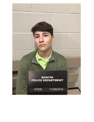 Benjamin G. O'Guinn, 18, of Martin, faces one charge of carrying a weapon on school property after a school resource officer found a gun inside his vehicle in the parking lot of Westview High School in Martin, Tenn. on Nov. 26, 2019.