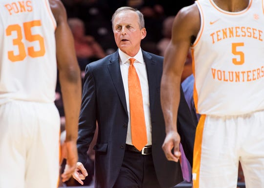 Tennessee Head Coach Rick Barnes during Tennessee's basketball game against Chattanooga at Thompson-Boling Arena in Knoxville, Tenn., on Monday, November 25, 2019.