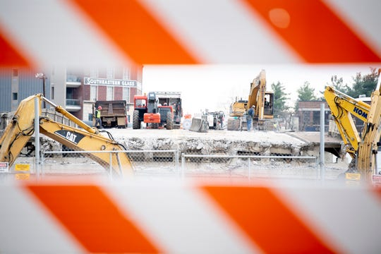 Demolition of the Broadway Viaduct continues in downtown Knoxville, Tenn. on Tuesday, Nov. 26, 2019. The bridge, which was built in 1927, will be replaced by two new bridges in its place over the railways between Jackson Avenue and Depot Street.