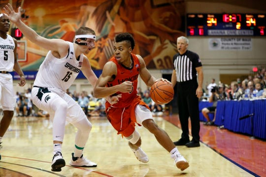 Virginia Tech guard Wabissa Bede (3) dribbles past Michigan State forward Thomas Kithier (15) during the second half of an NCAA college basketball game Monday, Nov. 25, 2019, in Lahaina, Hawaii. (AP Photo/Marco Garcia)