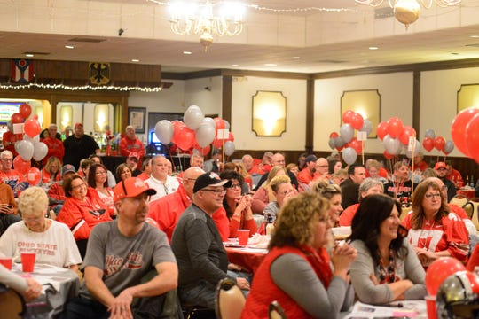 The Mansfield Liederkranz was filled with a sea of scarlet and grey Monday to celebrate the 39th annual Buckeye Bash, a rally and fundraising event held the week before the highly anticipated OSU vs. Michigan football game.