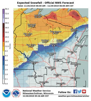 Up to 18 inches of snow could fall across far northern Wisconsin as a powerful early winter storm takes aim at parts of the Badger state.