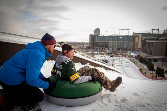 Snowtubing down Ariens Hill is a winter tradition.