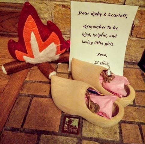 St. Nick leaves treats and a letter to the Koerner children in Wauwatosa every year.