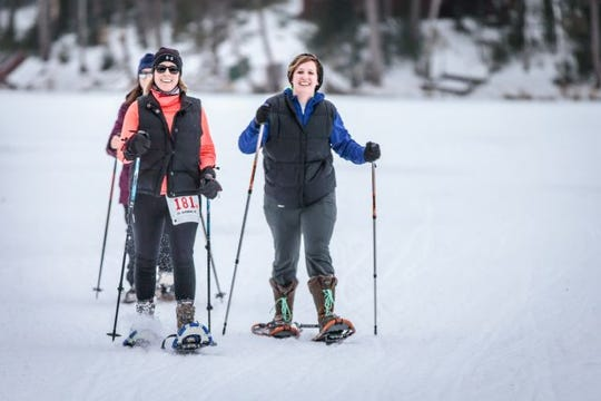Participants compete for a snowshoeing crown in the Arctic Warrior Race in St. Germain.