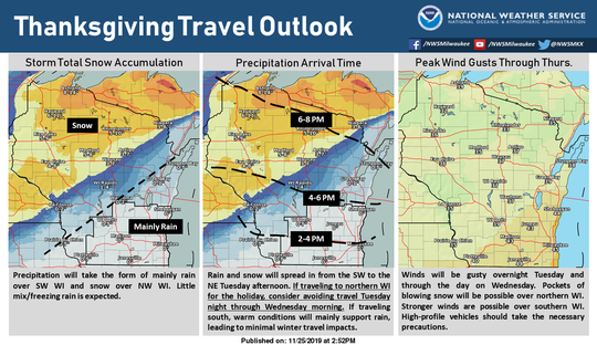 Snow, some of it heavy at times, will impact Thanksgiving holiday travel in Wisconsin.
