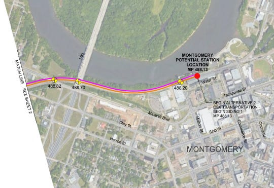 Potential train station location in Montgomery