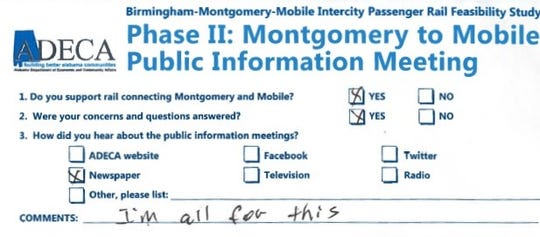 Comment card from an informational meeting on the proposed train between Montgomery and Mobile