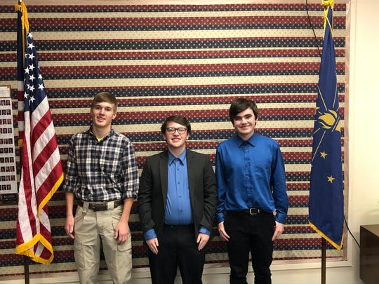 Winners in the Henry County Republican Club's 23rd Annual Speech Contest were (from left) Vince Shirey, Grayson Joslin and Blake Poffenbarger.