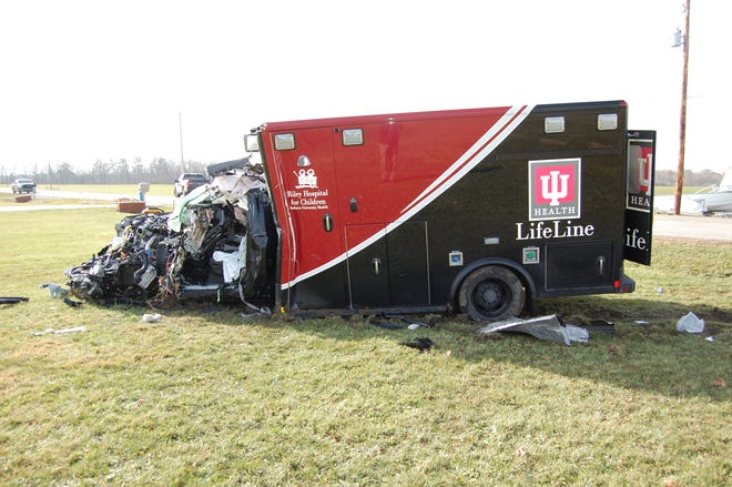 Four people were injured Monday when an ambulance collided with a semi-tractor trailer on Ind. 3 south of Hartford City.