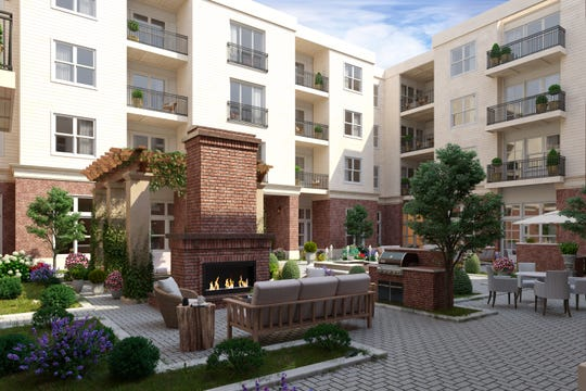 The courtyard at Harpeth Square will have an outdoor fireplace and comfortable seating.