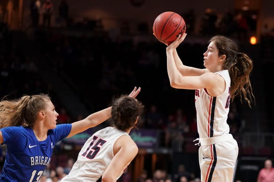 March 12, 2019; Las Vegas, NV, USA; Gonzaga Bulldogs guard Katie Campbell (24) shoots the basketball against the BYU Cougars during the second half in the finals of the WCC Basketball Championships at Orleans Arena. Mandatory Credit: Kyle Terada-USA TODAY Sports