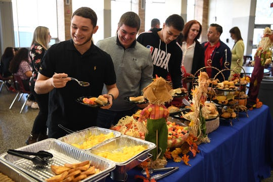 This is the last year for the Clifton-Passaic Thanksgiving Day game. Each year there's a sportsmanship breakfast hosted by the home team, which makes this the final sportsmanship breakfast. Clifton HS football player Eddie Maldonado III during the breakfast at Clifton High School on Tuesday, November 26, 2019.