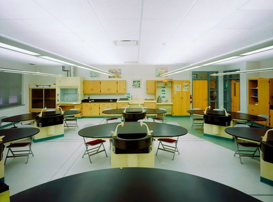 This rendering shows a possible vision for an updated science lab at Faust School in East Rutherford.