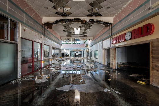 This photo, taken by Phillip Buehler inside of Wayne Hills Mall, days before it was demolished, is among 21 images of the former shopping plaza on display at a Manhattan art gallery.