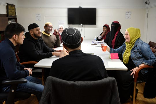 Khadijah Noor Tanju, on right, attends a da'wah class taught by Imam Mohammad Alhayek at North Hudson Islamic Educational Center in Union City on November 13, 2019. Tanju, a native of Colombia, converted to Islam in June 2015 after  discovering the religion by marrying a Turkish man in October 2014, who practices Islam.