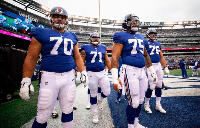 NY Giants guard Kevin Zeitler (70) will host the rest of the team's offensive line at his family's home for Thanksgiving dinner. Also pictured: Will Hernandez (71), Jon Halapio (75) and Nate Solder (76).
