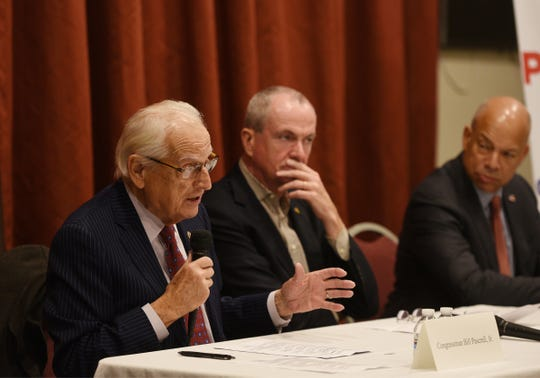 U.S. Rep. Bill Pascrell, Jr. (D-NJ-09), speaks as Governor Phil Murphy, and former Department of Homeland Security Secretary Jeh Johnson, listen as they host a roundtable discussion on the rise of domestic extremism and efforts to combat it, photographed at the VFW Post 2867in Garfield on 11/26/19.